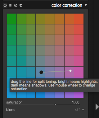 A rectangle grid of colors with a draggable thing